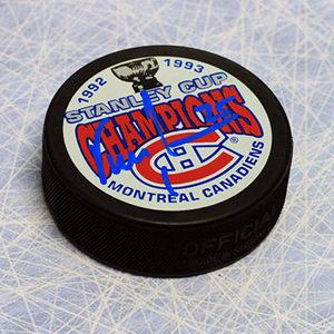 Vincent Damphousse Montreal Canadiens Autographed 1993 Stanley Cup Puck