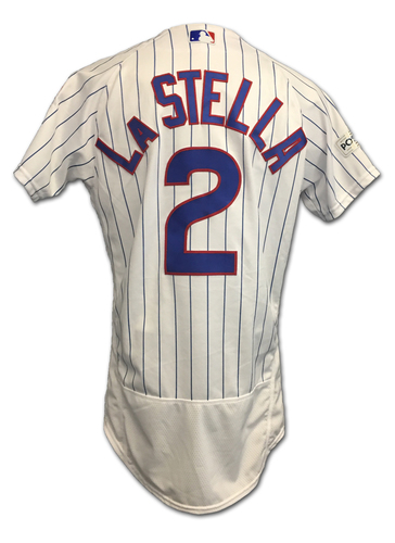 Photo of Tommy La Stella 2017 Postseason Game-Used Jersey -- 10/9 vs. Nationals: NLDS Game 3 -- 10/18 vs. Dodgers: NLCS Game 4