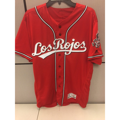 Photo of Michael Lorenzen - Game-Used Los Rojos Jersey - Worn on 8/13/16 and 9/16/16