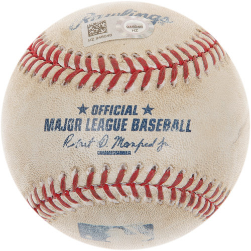 Photo of Game-Used Baseball from Ichiro Suzuki's 4,192nd Professional Hit Game (Passing Ty Cobb)