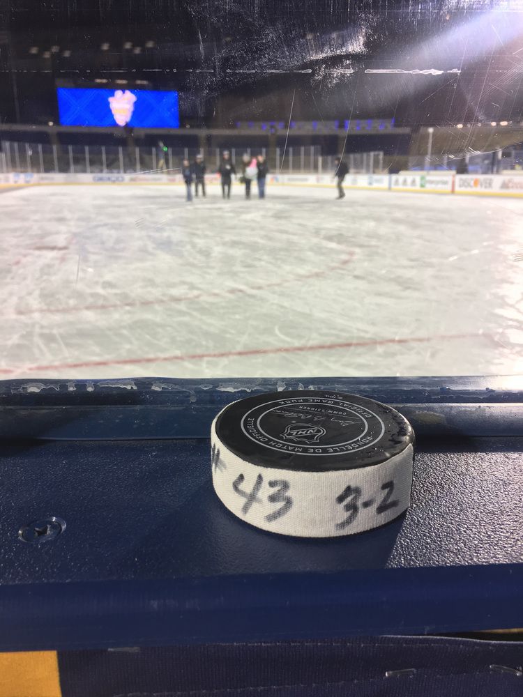 Nazem Kadri Toronto Maple Leafs Game-Used Goal Puck from the 2018 Stadium Series on March 3, 2018 vs. Washington Capitals