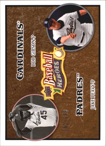 Photo of 2008 Upper Deck Heroes Brown #184 Bob Gibson/Jake Peavy
