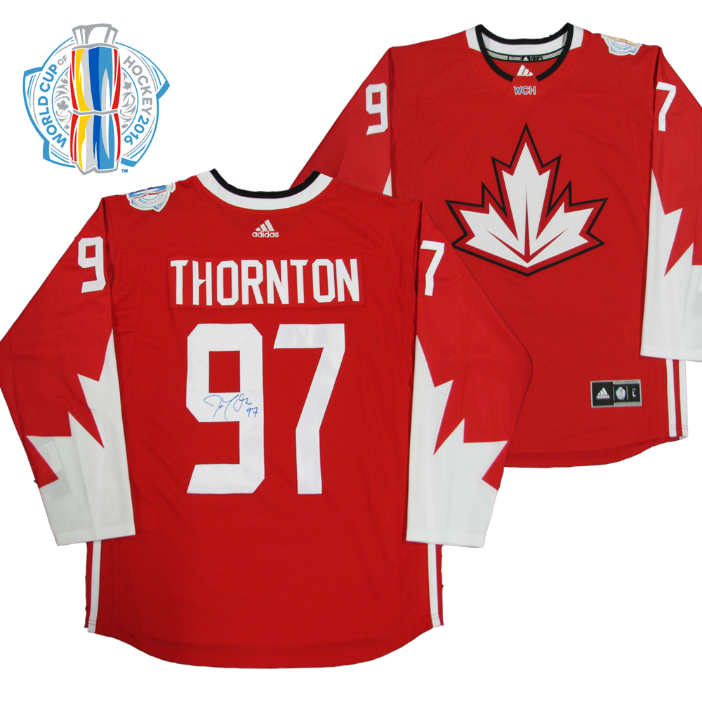 JOE THORNTON Signed World Cup of Hockey Team Canada Red Adidas Jersey