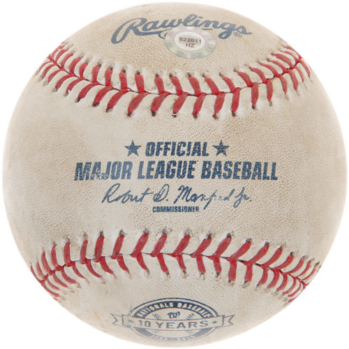 Photo of Game-Used Baseball from Trea Turner's 1st Career Major League Hit Game