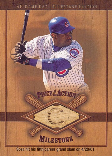 Photo of 2001 SP Game Bat Milestone Piece of Action Milestone #SS Sammy Sosa *