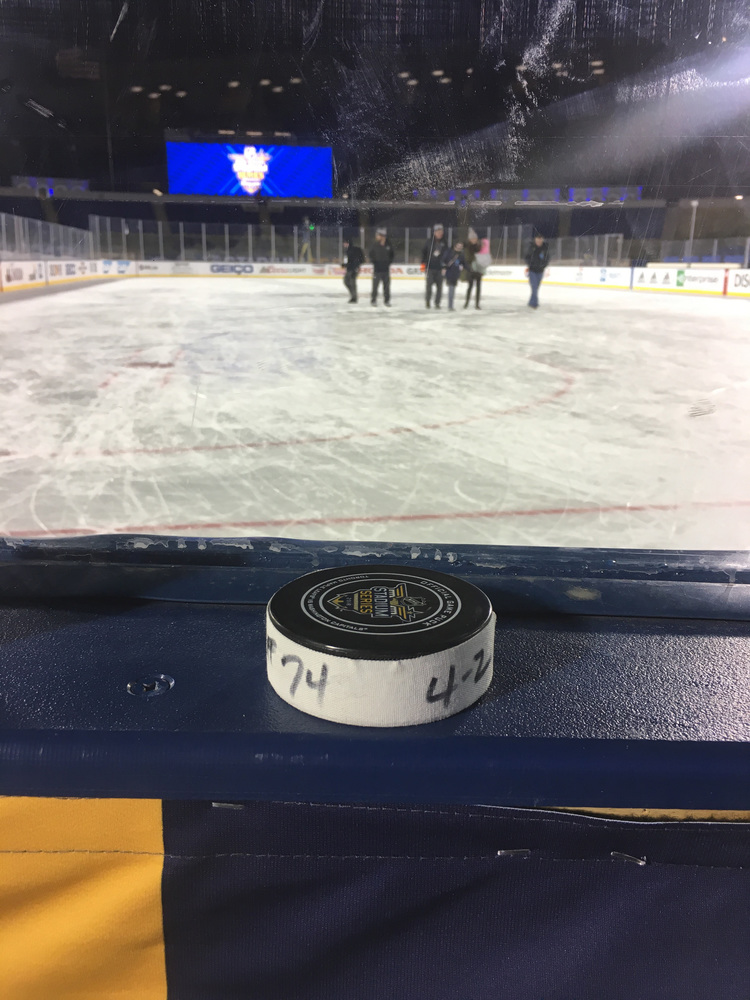 John Carlson Washington Capitals Game-Used Goal Puck from the 2018 Stadium Series on March 3, 2018 vs. Toronto Maple Leafs