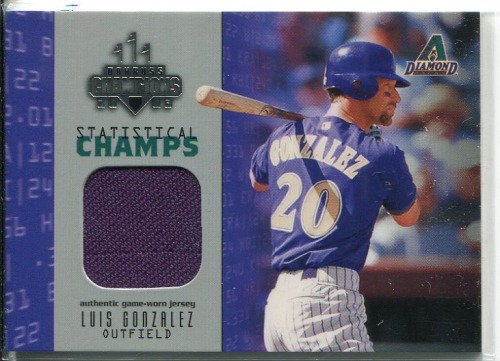 Photo of 2003 Donruss Champions Statistical Champs Materials #10 Luis Gonzalez Jsy/250
