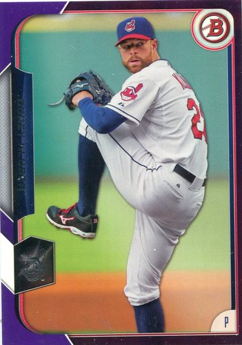 Photo of 2015 Bowman Purple #80 Corey Kluber 236/250 -- Indians post-season
