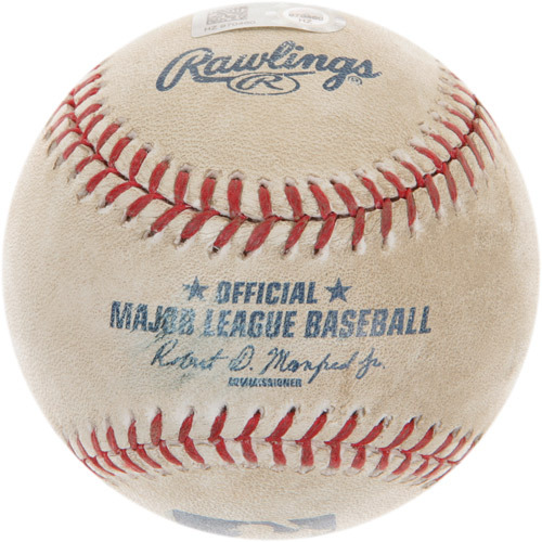 Photo of Game-Used Baseball from Robinson Cano's 2000th Career Hit Game (Cano At-Bat)