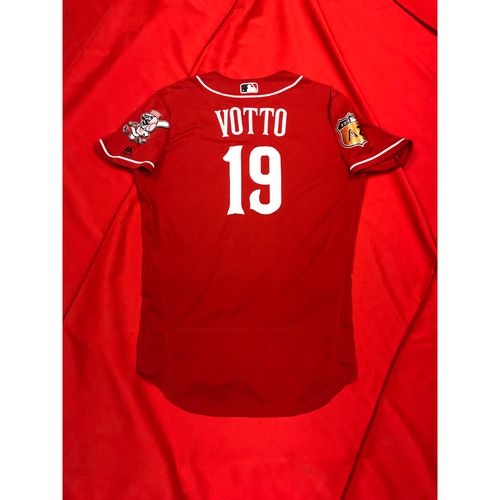 Photo of Joey Votto -- Game-Used Jersey -- 2017 Spring Training
