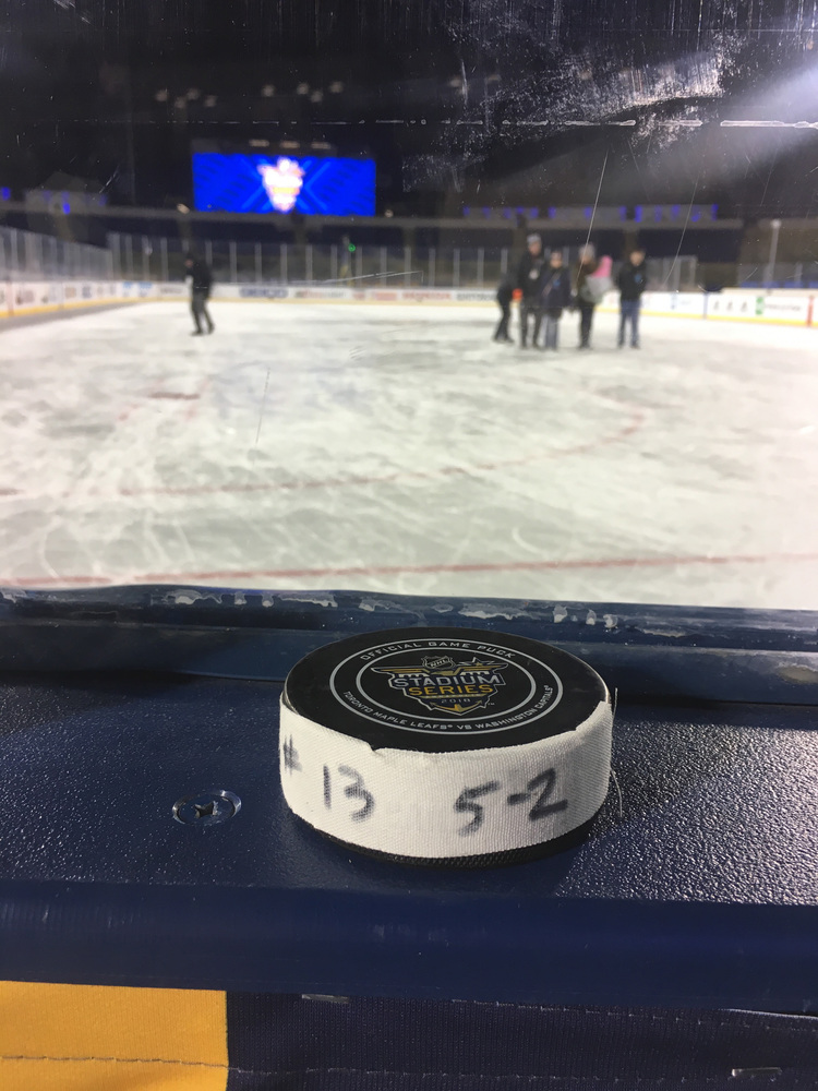 Jakub Vrana Washington Capitals Game-Used Goal Puck from the 2018 Stadium Series on March 3, 2018 vs. Toronto Maple Leafs