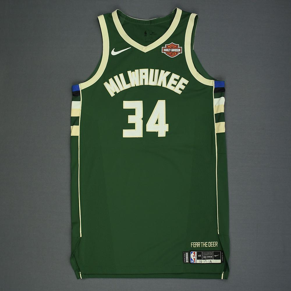 Giannis Antetokounmpo - Milwaukee Bucks - Kia NBA Tip-Off 2018 - Game-Worn Icon Edition Jersey - Double-Double