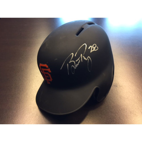 Photo of Giants Metallica Auction: Buster Posey Signed 8/7/2017 Game-Used Batting Helmet - 1,000th Game!