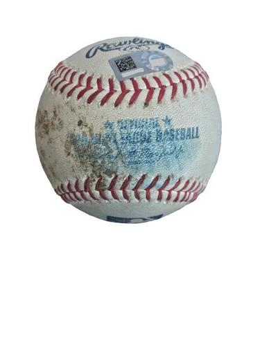 Photo of Game-Used Baseball from Pirates vs. Dodgers on 8/22/17 - Chris Taylor RBI Single, 2 Pitches to Corey Seager - Adrian Gonzalez 2,000th Career Hit Game