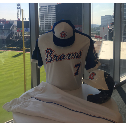 Photo of Braves Charity Auction - Dansby Swanson Game Worn Uniform: 1974 Hank Aaron Heritage Weekend - Cap, Helmet, Jersey and Pants included