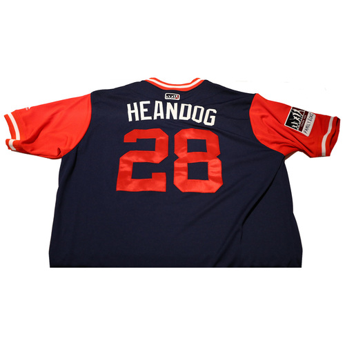 "Photo of Andrew ""Heandog"" Heaney Los Angeles Angels Game-Used Players Weekend Jersey"