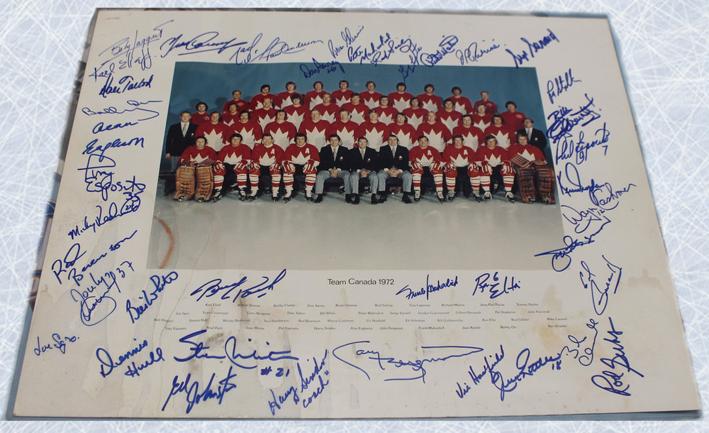 Team Canada 1972 Summit Series 16x20 Photo: Autographed by 41 - KEN DRYDEN, BOBBY ORR, PAUL HENDERSON, PHIL ESPOSITO, ETC*
