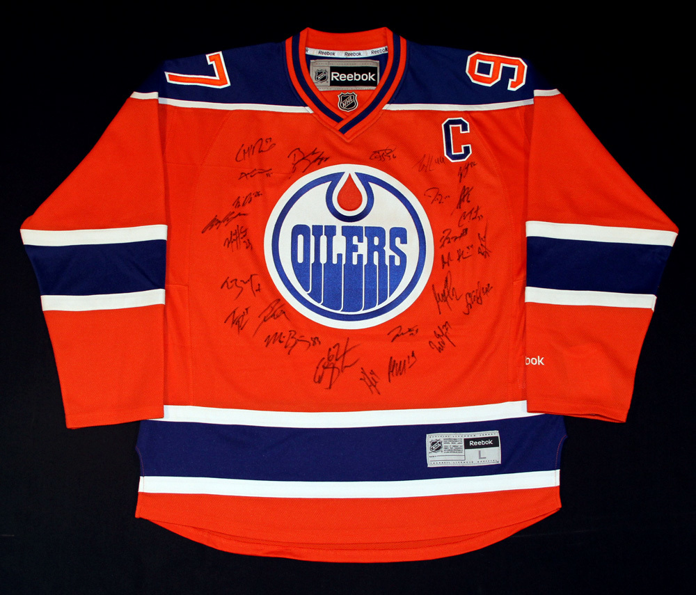 2016-17 Edmonton Oilers Team Signed Orange Oilers RBK Replica Jersey Crested To #97 Connor McDavid