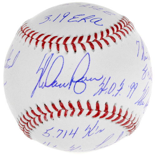 Photo of Nolan Ryan Texas Rangers Autographed Baseball with Career Stats and Accomplishments Inscriptions. #1 In a Limited Edition of 34