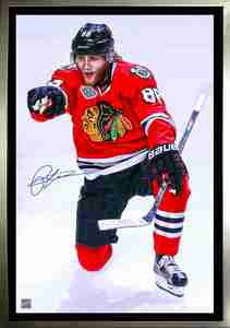 Patrick Kane - Signed & Framed 20x29 Canvas - Chicago Blackhawks 2015 Stanley Cup Pointing