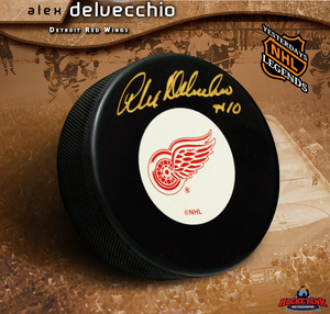 ALEX DELVECCHIO Signed Detroit Red Wings Puck
