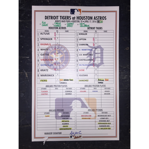 Photo of Astros vs Tigers, April 17, 2016, Game-Used Lineup Card