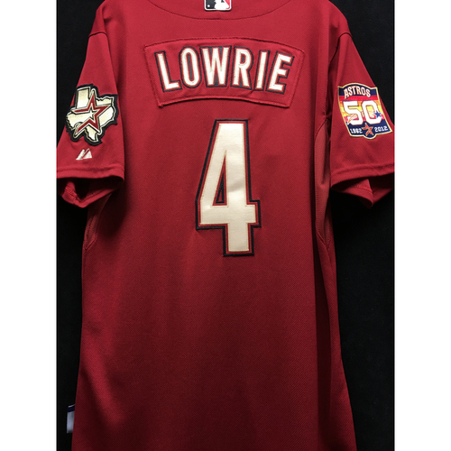 Photo of Game Used 2012 50TH ANNIVERSARY Home Red Jed Lowrie jersey