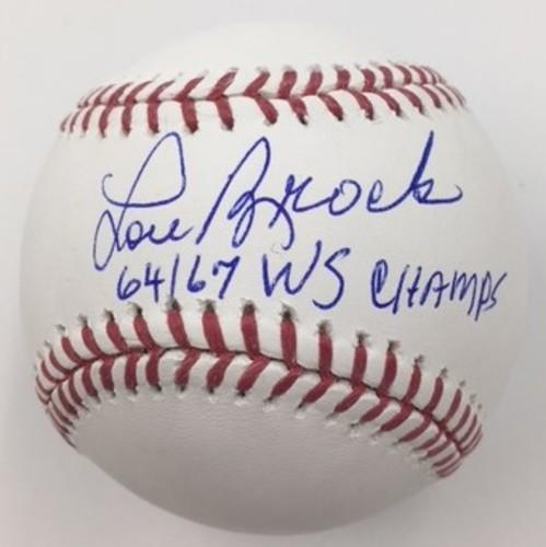 "Photo of Lou Brock Autographed ""64-67 WS Champs"" Baseball"