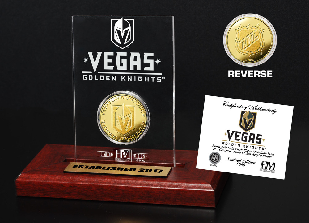Serial #1! Vegas Golden Knights Gold Coin Etched Acrylic