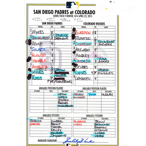 Photo of Padres vs Rockies Game-Used 4/23/14 Lineup Card, Tyson Ross Start