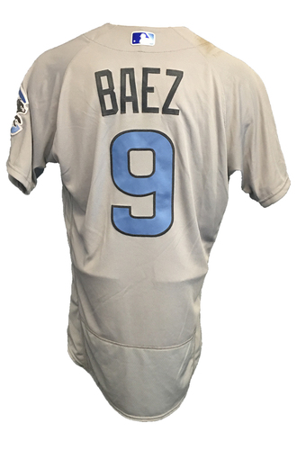 Photo of Javier Baez Game-Used Father's Day Jersey -- Cubs vs Pirates -- 6/17/17