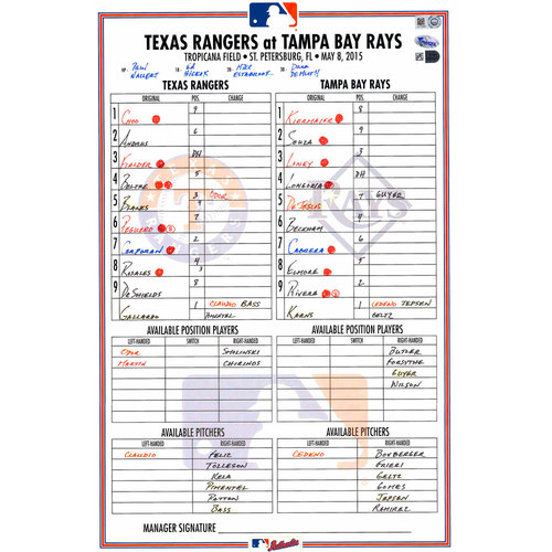 Photo of Texas Rangers Game-Used Lineup Card vs. Tampa Bay Rays on May 8, 2015. Adam Rosales HR in 8th