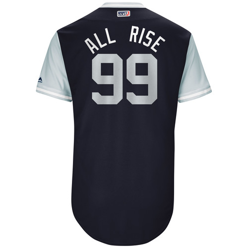 "Photo of Aaron ""All Rise"" Judge New York Yankees Game-Used Players Weekend Jersey"