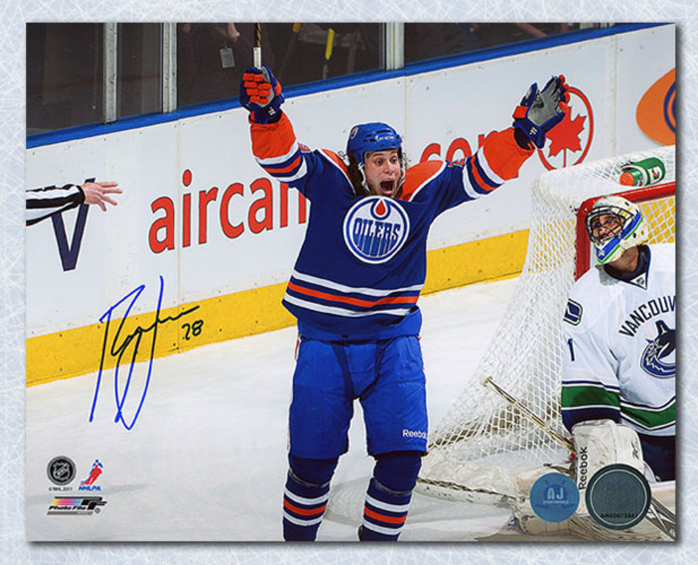 Ryan Jones Edmonton Oilers Autographed Goal Celebration 8x10 Photo