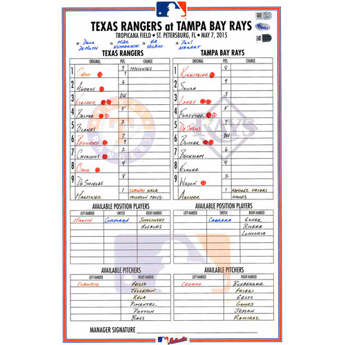 Photo of Texas Rangers Game-Used Lineup Card vs. Tampa Bay Rays on May 7, 2015. Andrus Two-Run Single