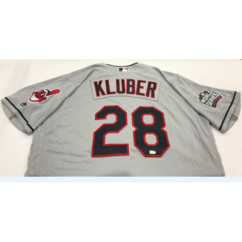 Photo of Corey Kluber Team-Issued 2016 World Series Road Jersey