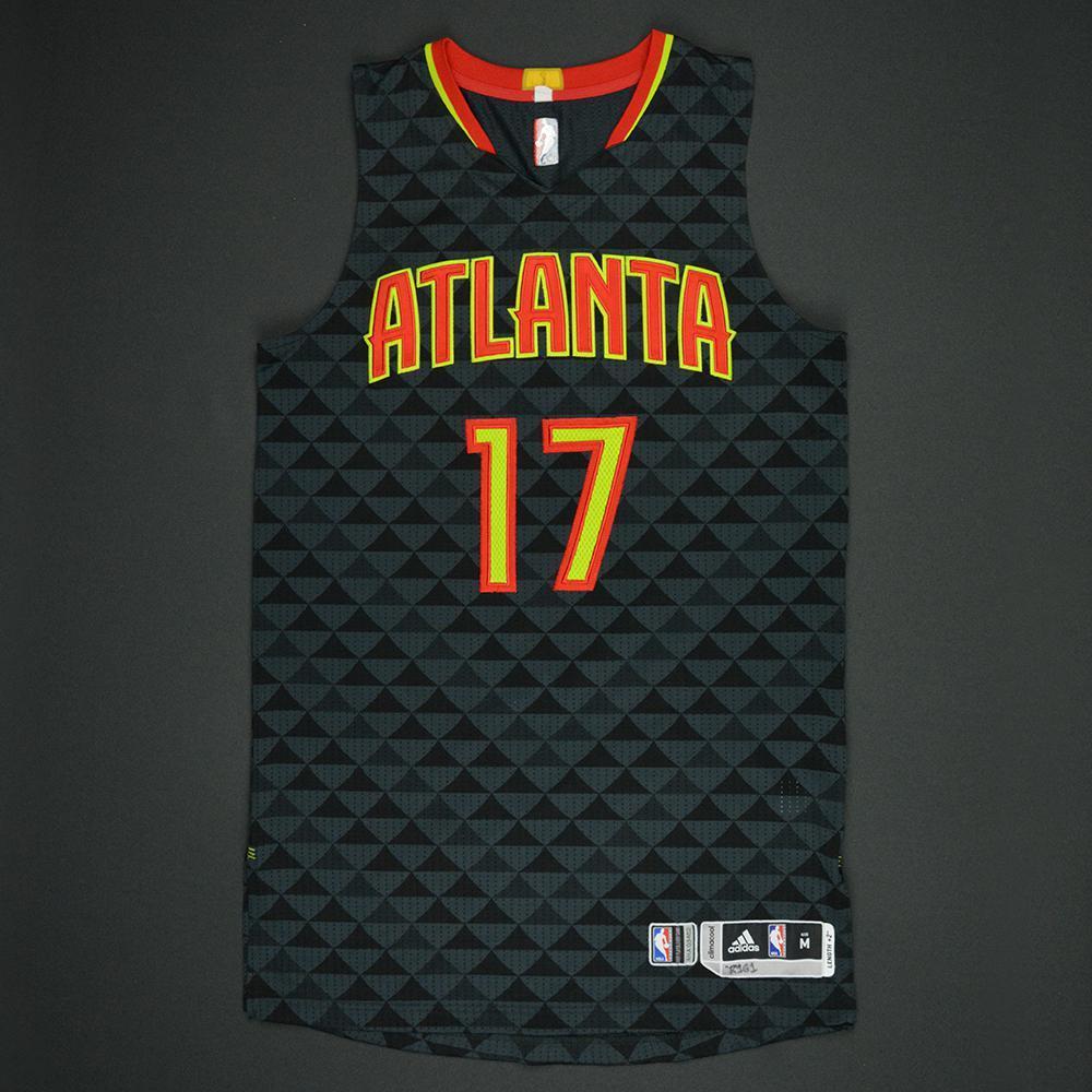 Dennis Schroder - Atlanta Hawks - Black Playoffs Game-Worn Jersey - 2016-17 Season