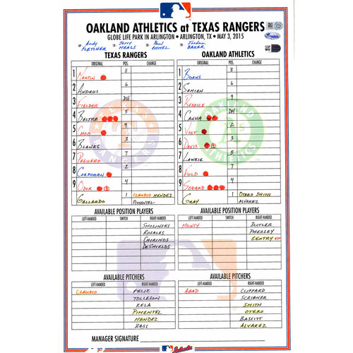 Photo of Texas Rangers Game-Used Lineup Card vs. Oakland Athletics on May 3, 2015