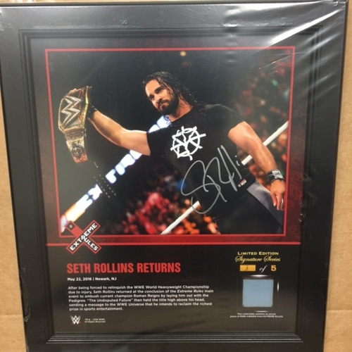 Photo of Seth Rollins SIGNED Extreme Rules 2016 15 x 17 Framed Ring Canvas Photo Collage