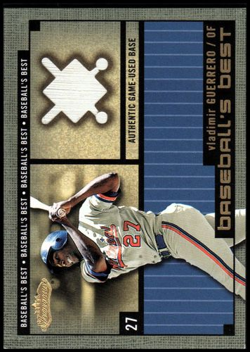 Photo of 2002 Fleer Showcase Baseball's Best Memorabilia Gold #17 Vladimir Guerrero Base