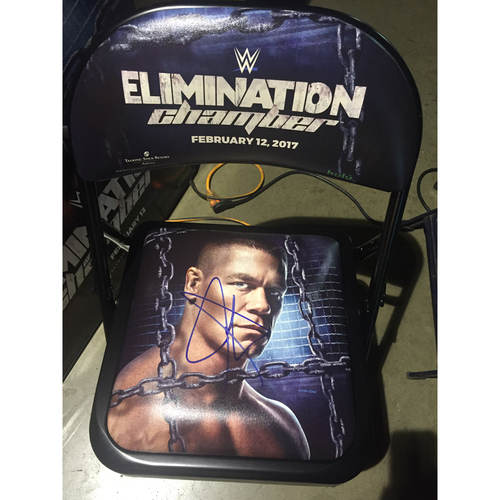 Photo of John Cena SIGNED WWE Elimination Chamber 2017 Event Chair