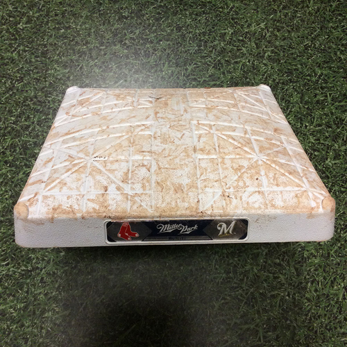 Photo of Game-Used 05/10/17 2nd Base - BOS@MIL - Eric Thames RBI Double & 1st SB of 2017