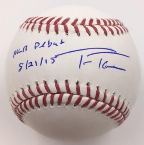 "Photo of Trea Turner ""MLB Debut 8/21/15"" Autographed Baseball"