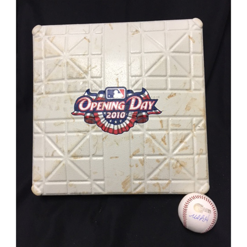 Photo of Game-Used Base from Opening Day 2010 and a Mark Buehrle Autographed World Series Baseball