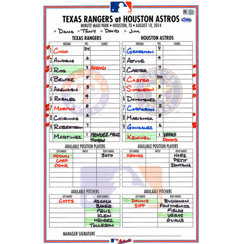 Photo of Texas Rangers Game-Used Lineup Card vs. Houston Astros on August 10, 2014
