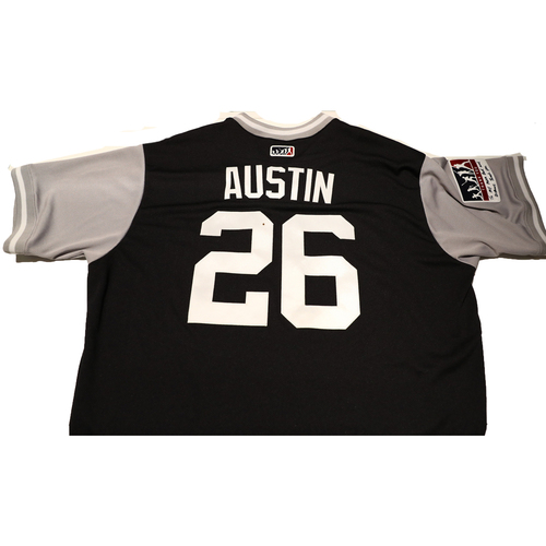 "Photo of Tyler ""Austin"" Austin New York Yankees Team-Issued Players Weekend Jersey"