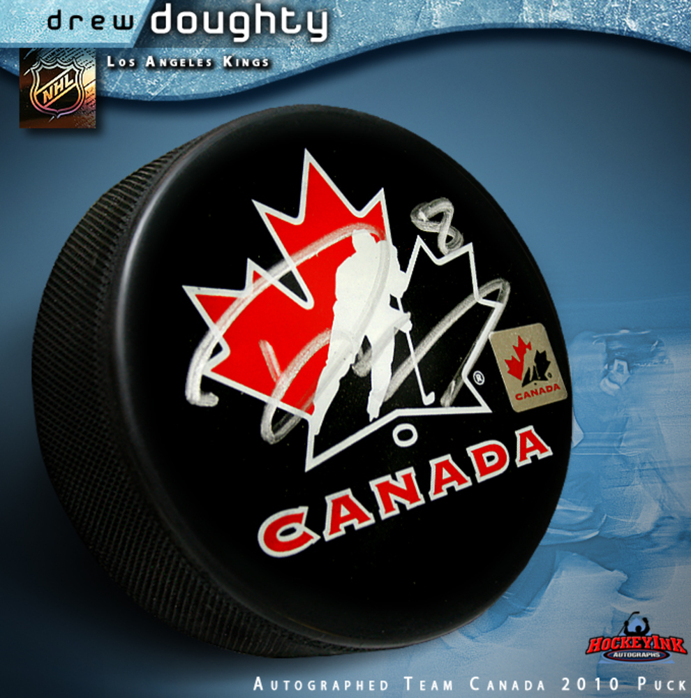 DREW DOUGHTY Signed 2010 Olympics Team Canada Puck - Los Angeles Kings