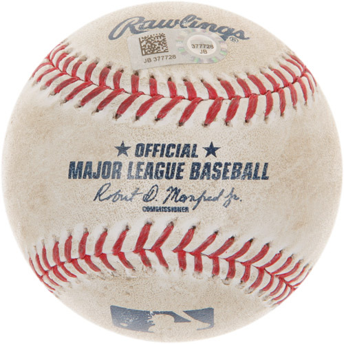 Photo of Game-Used Baseball from Dustin Pedroia's 1,500th Career Hit Game