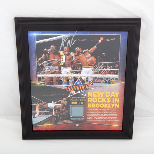 Photo of The New Day SIGNED SummerSlam Commemorative Ring Canvas Plaque (#3 of 5)