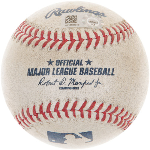 Photo of Game-Used Baseball from Michael Fulmer's Major League Debut and 1st Career Win Game